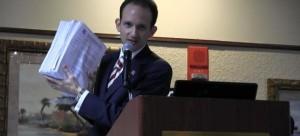 Richard DeNapoli presenting evidence of deceased voters on the rolls in Broward