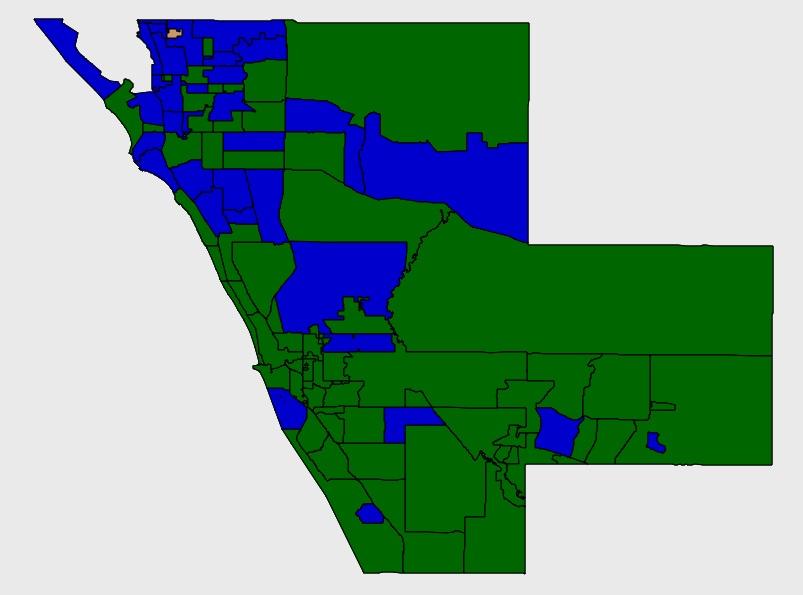 Ken Marsh (Blue) versus Bridget Zeigler (Green) from the Sarasota Supervisor of Elections website, November 8, 2014
